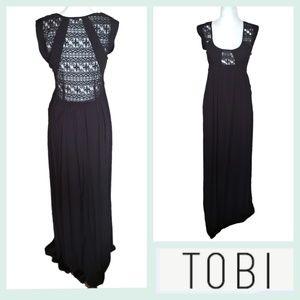 TOBI | Lace Inset Victorian Style Black Maxi Dress